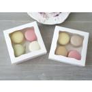 White Macaron Cookies Boxes 10x10x3cm ($2.00 X 12 units)